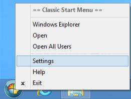 Settings Right-Click Menu