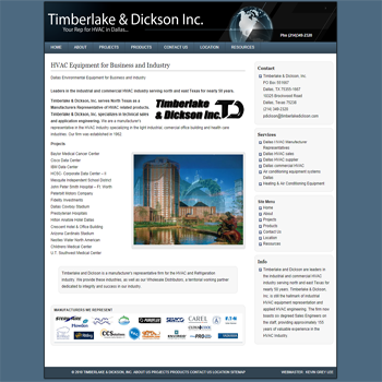 Timberlake & Dickson, Inc.serves North Texas as a Manufacturers Representative of HVAC related products.